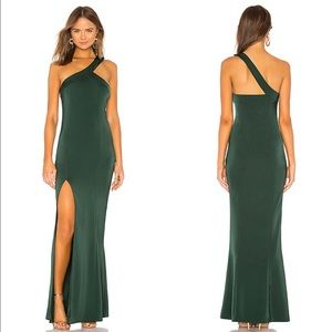 NBD Evan New Green One Shoulder Maxi Gown Dress